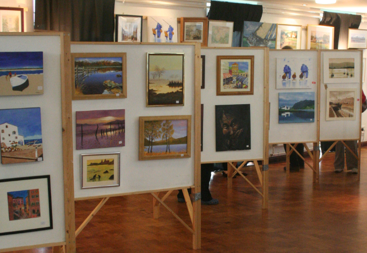 Photograph of exhibition of paintings