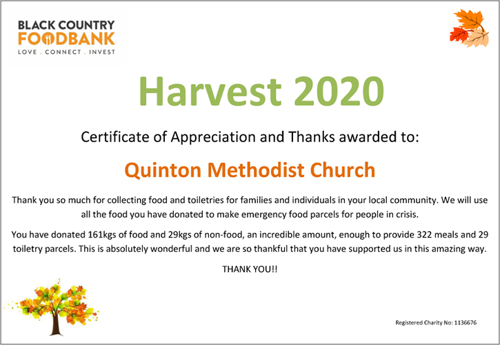 Black Country Food Bank Certificate of Appreciation and Thanks