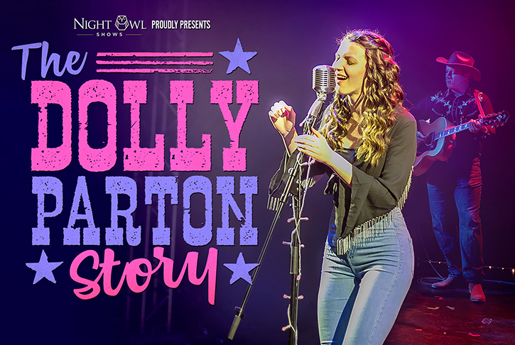 Dolly Parton Story promotional image promoted by Night Owl Shows
