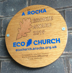 Photograph of bronze eco award plaque